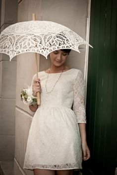 lace parasol and lace dress