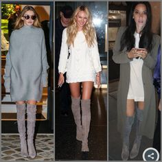 Gigi Hadid, Candice Swanepoel, and Olivia Munn all in Stuart Weitzman highland or lowland boots.