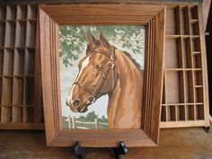 Paint By Numbers Horse Painting Vintage Framed Horse Art 1960s Oil Painting