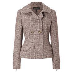 ESCADA Jacket Barva ($2,395) ❤ liked on Polyvore featuring outerwear, jackets, pine, brown jacket, escada, houndstooth jacket, zipper jacket y collar jacket