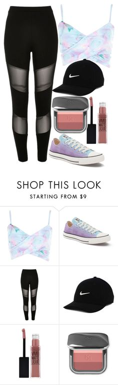 """""""Untitled#1488"""" by mihai-theodora ❤ liked on Polyvore featuring River Island, Converse, NIKE and Maybelline"""