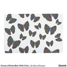 Swarm of Butterflies With Colorful Striped Wings Placemat - home decor design art diy cyo custom Butterfly Gifts, Ipad Air Case, Drink Coasters, Floor Mats, Home Gifts, Design Art, Wings, Butterflies, Stripes