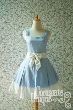 Blue ALICE IN WONDERLAND Dress White Ribbon Pleated Sweetheart Neckline. $145.00, via Etsy.