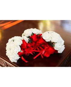 Ivory or White Rose Brides Bouquet with RED Handle and Bows - artificial rose bridal flowers with diamante or pearl centres £25