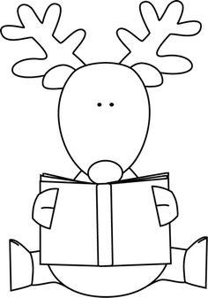 reindeer reading book - xmas