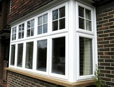 UPVc Windows in London, Kent, Surrey and Sussex Porch Windows, Front Doors With Windows, Timber Windows, Upvc Windows, House Windows, Bay Window Exterior, Aluminium French Doors, Georgian Windows, House Exterior Color Schemes