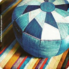 Old jeans into cute pouf