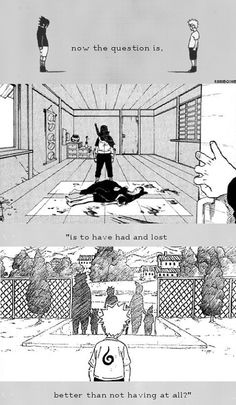 The difference between Sasuke and Naruto's childhoods. One lost everything and one had nothing from the beginning.
