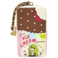 Betsey Johnson Kitsch Ice Cream Sandwich Wristlet ($58) ❤ liked on Polyvore featuring bags, handbags, clutches, multi, betsey johnson purses, wristlet purse, brown wristlet, vegan purses and faux-leather handbags