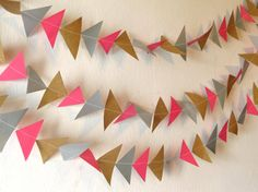 Geometric garland hanging paper triangles by Lulipleats on Etsy
