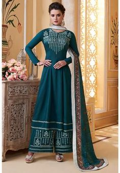Readymade Salwar Kameez, Kurti, Designer Salwar Suits, Designer Dresses, Palazzo Suit, Palazzo Style, Pakistani Suits, Ahmedabad, Teal Colors