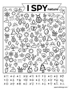 Free Printable I Spy Nature Game. Outdoor themed boredom buster game for kids to play on a cold rainy winter day, in the summer, or on a road trip. fun winter Free Printable I Spy Nature Game - Paper Trail Design I Spy Games, Paper Games For Kids, Kid Games, Hidden Pictures, Paper Trail, Preschool Activities, Kids Printable Activities, Fun Worksheets For Kids, Printable Mazes