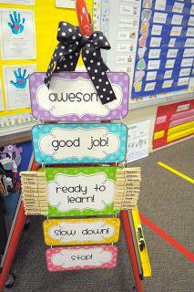 Mrs. Ricca's Kindergarten: Classroom Organization.....idea to attach behavior clipchart to easel instead of wall!!!
