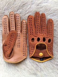 Driving Leather Gloves - Men's Fancy Carpincho Leather Gloves - Suede Peccary Glove
