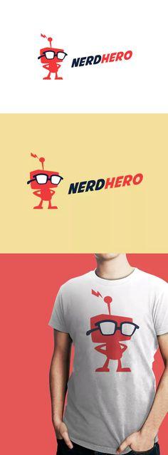 NerdHero - Nerd Retro Robot Logo Template AI, EPS