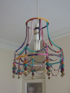 recycled clothes, necklaces and lampshade