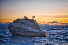 Bonsai Rock, Rough Water, Sunset, HDR