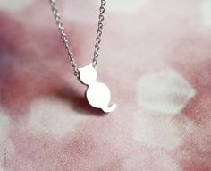 tiny cat necklace  cute dainty silver jewelry  gift by PetiteCo, $13.80
