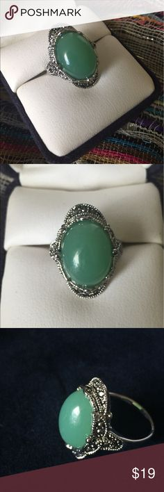 Vintage Jade Green Cocktail Ring sz 6 Gorgeous boutique cocktail ring featuring green faux jade resin bead and intricate detailing with small marcasite accent stones. Women's Size 6. Vintage style, brand new. *display box is just for photos and not included* Vintage Jewelry Rings