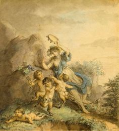 A Nymph and dancing Satyrs -Diana Beauclerk