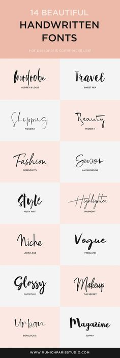 14 beautiful hand-lettered fonts for logo & branding vogue logo – brand logos - anfängliches Tattoo Handwritten Fonts, Calligraphy Fonts, Cursive Fonts, Calligraphy Alphabet, Word Fonts, Penmanship, Modern Calligraphy, Beautiful Handwriting Fonts, Beautiful Fonts