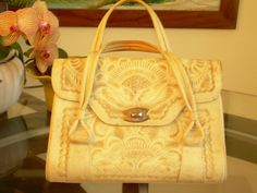 Vintage Large Hand Tooled Leather Purse in great by stilettoRANCH, $36.00