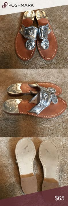 "Jack Rogers ""Hampton metallic"" leather sandals Worn once, but too small! Soles are in perfect condition. No visible wear noted. My loss is your gain! Currently selling for $118 at Neumann Marcus! Price listed is my lowest & final, no other offers accepted. Jack Rogers Shoes Sandals"