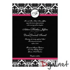 12 best pink and black wedding invitations images on pinterest hot pink and black damask wedding invitation filmwisefo