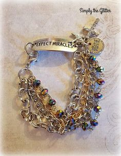 Silver Bracelet Expect Miracles AB Glass Beads Silver and