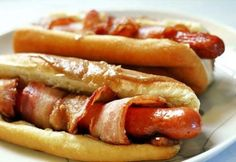 bacon wrapped hot dogs.