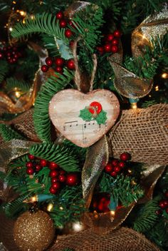 Tea Stained Christmas Sheet Music Heart Ornament 2012