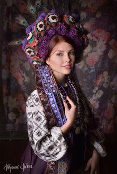 Elaborate purple and plum Ukrainian woman's attire - carry on the spirit of Ukraine! Folk Fashion, Ethnic Fashion, Fotografia Retro, Ukraine, Estilo Popular, Costume Ethnique, Beautiful People, Beautiful Women, Ethno Style