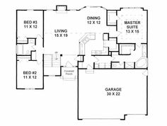 First Floor Plan of Traditional   House Plan 62646
