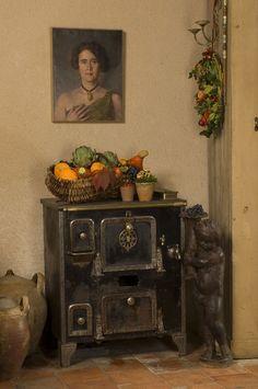 From our kitchen at le Moulin Bregeon. Antique French Furniture, French Country Furniture, French Stove, Casual Decor, Le Moulin, Vintage Love, Vignettes, Decorative Boxes, Interiors
