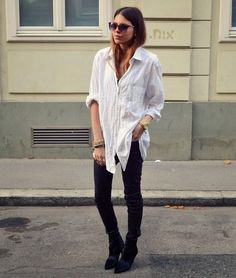 "A great, generic look that looks flattering on almost any figure:  blousy, light-colored shirt with fitted, dark bottoms.  Flats are more ""pixie,"" heels are more ""stunning,"" boots are more ""tough."""