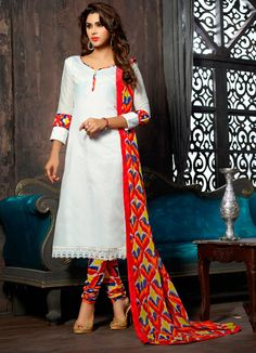 $25.62Off White Chanderi Churidar Suit 56618