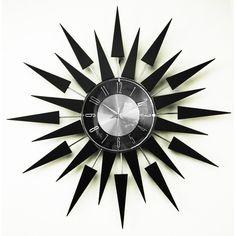$86 Mid Century Modern Sunburst Wood Clock, 20-inch | Overstock.com Shopping - The Best Deals on Clocks