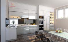 Tủ bếp đẹp hiện đại chữ L có tủ rượu XV118