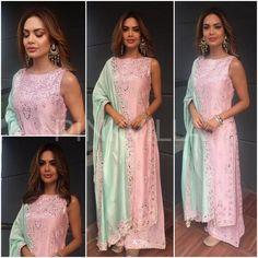 Yay or Nay : Esha Gupta in Tamanna Punjabi Kapoor Dress Indian Style, Indian Dresses, Indian Wear, Indian Outfits, Designer Punjabi Suits, Indian Designer Wear, Latest Suit Design, Silk Kurti Designs, Desi Clothes