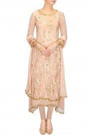 Light pink layered french knot kurta set