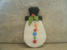 Buttoned Up Snowman Christmas Ornament by countrycupboardclay, $7.95