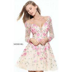 Sherri Hill 50913 Prom Dress 2017 Mini V-Neck Long Sleeve (1.180 BRL) ❤ liked on Polyvore featuring dresses, formal dresses, pink long sleeve dress, long pink dress, long prom dresses, short prom dresses and long floral dresses