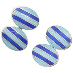 Guilloche Enamel Sterling Silver Cufflinks. Oval with medium blue and navy blue stripes. Hallmarks: STERLING