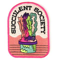 Succulent Society Embroidered Sew or Iron-on Backing Patches