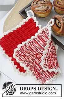 """DROPS Extra 0-874 - DROPS Knitted DROPS Christmas pot holders in """"Paris"""". - Free pattern by DROPS Design"""