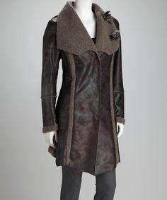 Brown & Charcoal Faux Fur Coat
