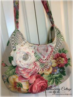 Vintage Barkcloth era Pink roses with crochet slouchy boho handbag