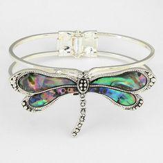 Silver Tone Hinge Style Abalone Dragonfly Bracelet New Jewelry Gift Idea Bracelet Clasps, Cuff Bracelets, Bangles, Trendy Bracelets, Silver Bracelets, Jewelry Gifts, Jewelery, Unique Jewelry, Turquoise Bracelet