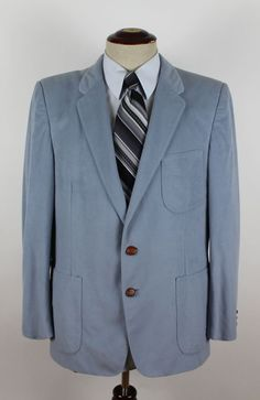 Oleg Cassini for Bergs Blazer Sport Coat size 40s Light Blue Suede 2 Leather Btn #OlegCassini #TwoButton