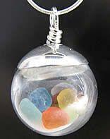 Rainbow Glass Ball Necklace